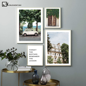 Old House Car Tree Vintage Art Poster Nordic Landscape Canvas Print Motivational Wall Painting Modern Home Decoration Picture