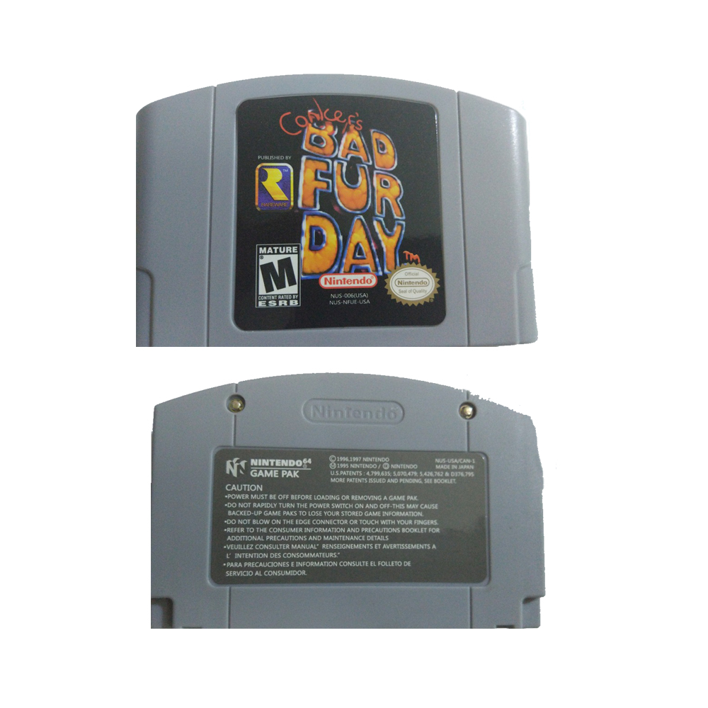 New N64 Conker's BOD FUR DAY USA PAL Version Cartridge For 64Bit Video Game Console