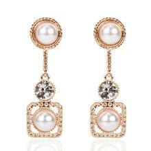 Korean Personality All-match Earrings For Women Simple Fashion Geometric Rhinestone Imitation Pearl Earrings 2020 a suit of cute rhinestone geometric earrings for women