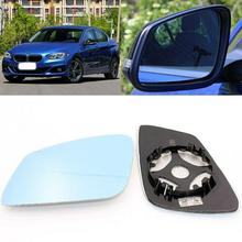 For BMW 1 Series 116 118 120 Side View Door Mirror Blue Glass With Base Heated 1pair l r door wing mirror glass heated blue left right side for bmw x5 e53 99 06 3 0i 4 4i car styling rearview mirror heating