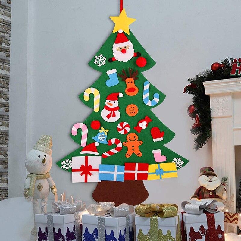 3D fieltro árbol de Navidad colgante de pared 3 pies árbol de Navidad conjunto con adornos para niños decoraciones de Navidad DIY Mandala círculo árboles vinilo calcomanías de pared decoración del hogar Fitness Yoga árbol adhesivo de árbol para pared de la vida Yoga Studio murales de pared AZ044