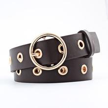 New Women Punk belts designer leather belt fashion high quality PU metal Ring hole waistband for womens X57
