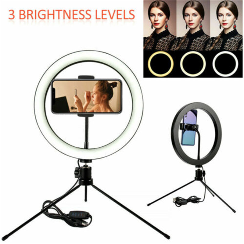 6 10 Inch Ring Light LED Camera Selfie Light Ring for iPhone Huawei Tripod Phone Holder for Video Makeup Photography