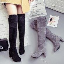 Loisirs concis automne hiver sur le genou bottes hautes pour les femmes bout rond haut Vintage longues bottes mode nouveauté chaussures