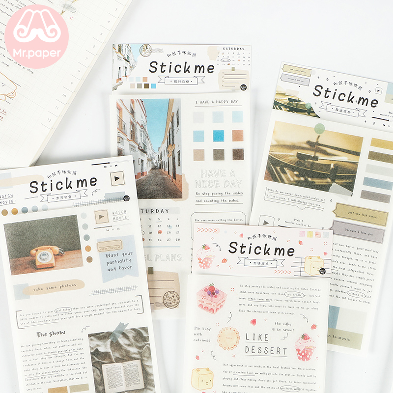 Mr.paper 8 Designs 1Pc/pack Ins Minimalist Style Deco Stickers Scrapbooking Bullet Journal Popular Creative Decorative Stickers