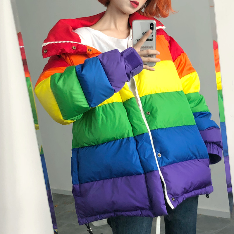 Winter Casual Down Cotton Jacket Women Rainbow Wadded Parka Plus Size Loose Striped Coat Femme Chaqueta Mujer