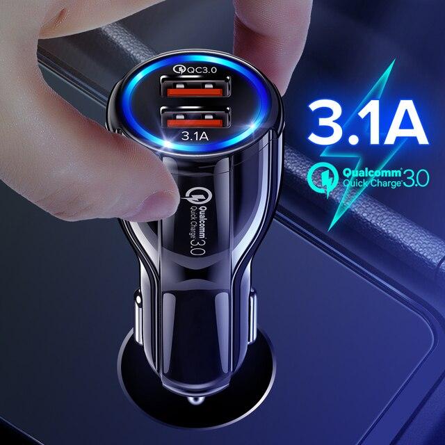 Автомобильное зарядное устройство с двумя USB портами 3,1 А, быстрая зарядка 3,0 для Audi A6 C5 BMW F10 Toyota Corolla Citroen C4 C3 Nissan Qashqai Ford Focus 3 2
