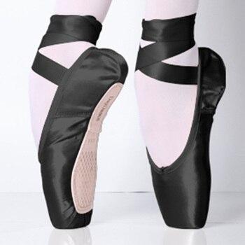 Satin Ballet Pointe Shoes Black Ladies Professional Girls Women Ballerina Dance Wear