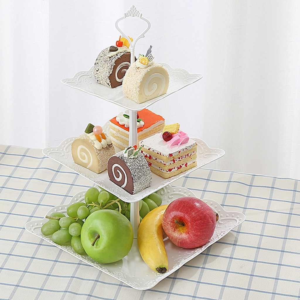 3-Tier Cupcake Stand Kue Dessert Pernikahan Acara Pesta Display Nampan Menara Piring Buah Kue Rak Penyimpanan Baru