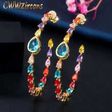 CWWZircons Elegant Circle Round Multicolor Rainbow CZ Crystal Big 585 Gold Hoop Earrings for Women Jewelry Gift CZ641(China)