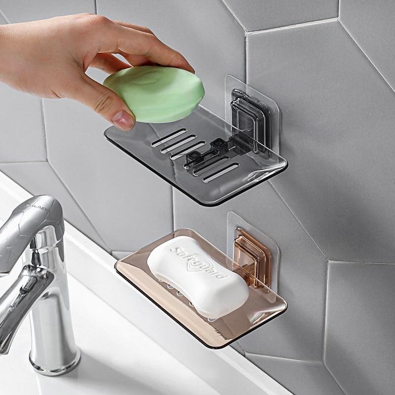 Bathroom Suction Wall Rack Drain Soap Box Shower Shelf Soap Storage Holder Organizer Wall Hangers Bathroom Accessories