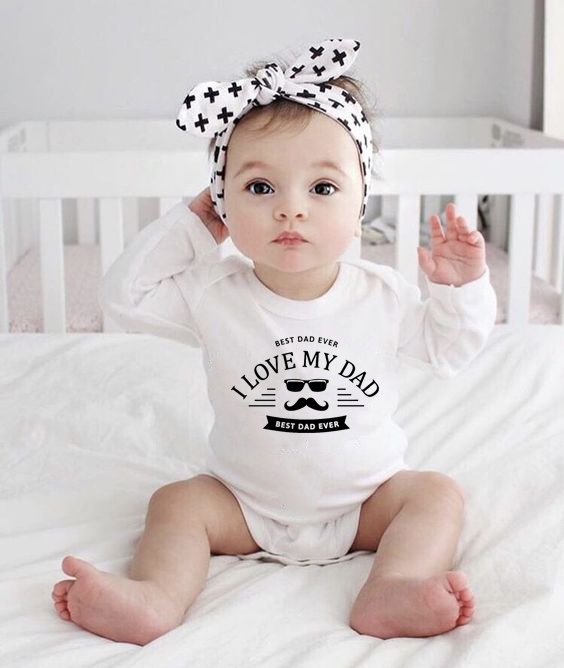 Custom Our first Father/'s day white long rompersuit baby grow bodysuit fathers