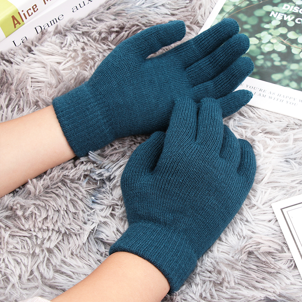 Women Men Unisex Winter Ribbed Knitted Full Fingered Gloves Basic Thicken Plush Lining Mittens Magic Thermal Wrist Warmer