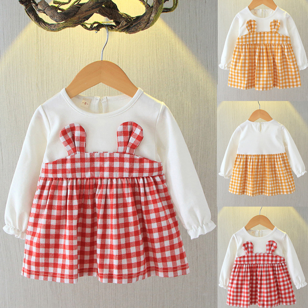 Baby Girl Romper Ruffle Sleeve Lace Plaid Spliced Grid Jumpsuit Bowknot 2pcs