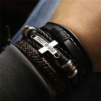 3 Pcs/Set Leather Bracelets Men Bangles For Women Wood Beads Feather TRUST IN GOD Cross Charm Homme Gift Jewelry Freely Shipping image