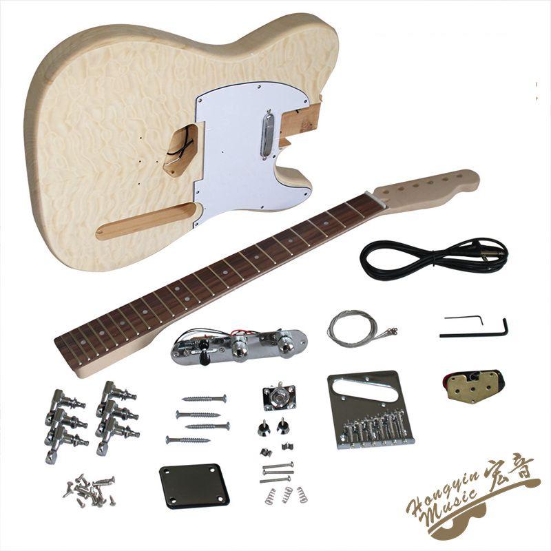 TL Estilo Agua Ondulaciones Madera Guitarra Eléctrica DIY Kit Set Basswood Cuerpo Palisandro Diapasón Durable Arce Cuello Guitar