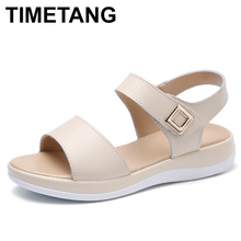 TIMETANGWhite sandals Women's summer shoes Comfortable Real