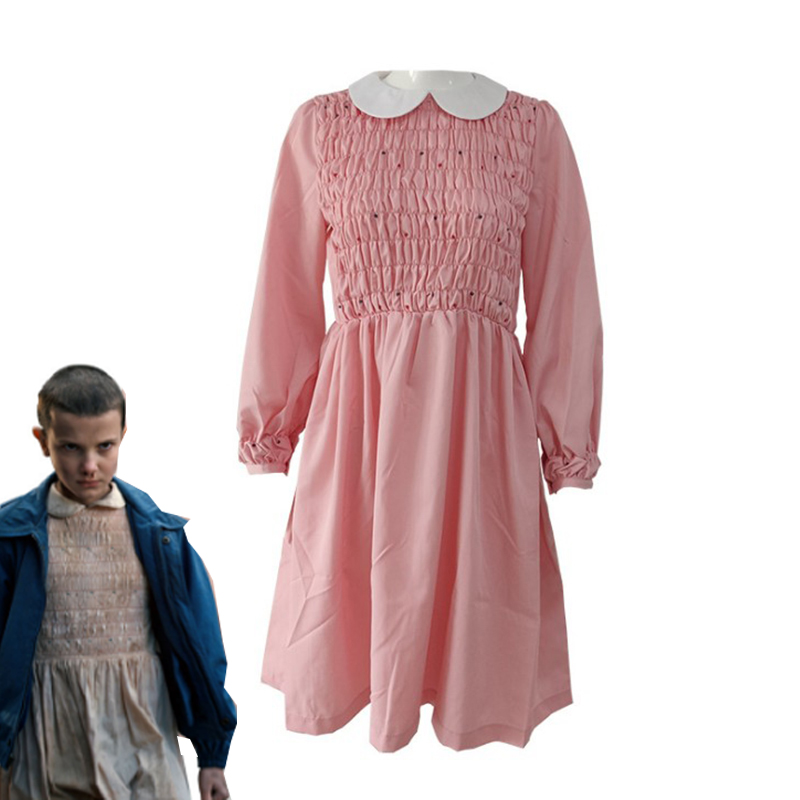 Stranger Things Eleven Millie Bobby Cosplay Costume Pink Dress Halloween Carnival Uniforms