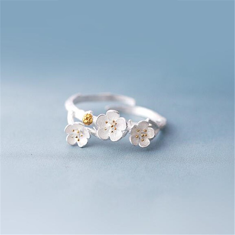 925 Sterling Silver Jewelry Korean New Popular Fashion Daisy Flower Adjustable Female Opening Rings   SR122