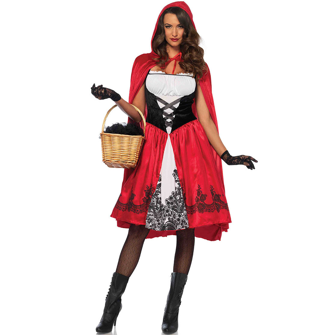 S-3xl Plus Size Little Red Riding Hood Costume Halloween Cape Fairy Tale Girl Dress Cloak Cosplay Role Playing Game Uniform