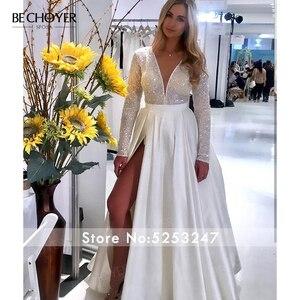 Image 5 - Bechoyer Luxe Lange Mouwen Satin Wedding Dress 2020 Sexy Kralen A lijn Trein Illusion Princess Bride Gown Vestido De Noiva EL05