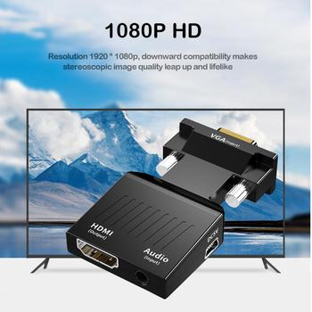 VGA to HDMI Adapter Video Audio Converter with Audio Support 1080P ABS Consumer Electronics Accessories 62x34x15.5mm 3