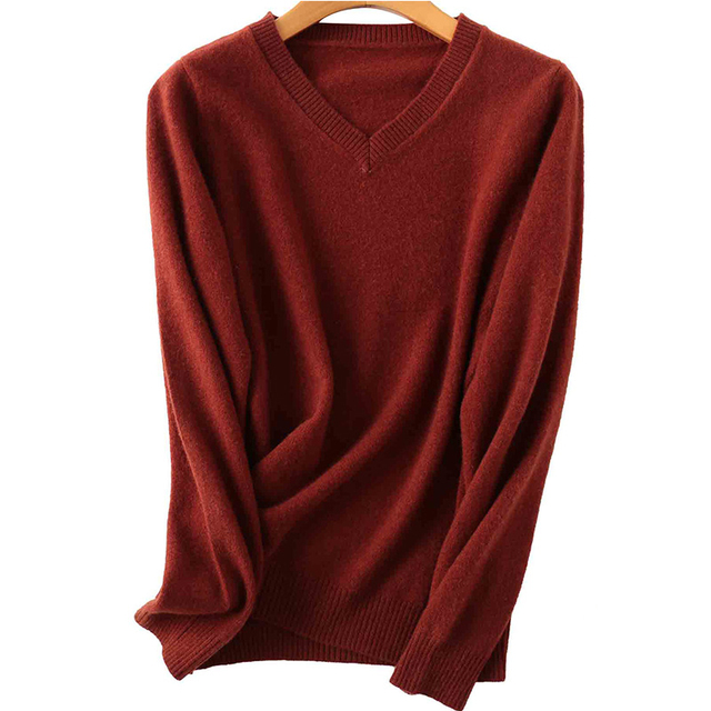 100% Merino Wool Women V-Neck Sweater 2020 Autumn Winter Warm Soft knitted Pullover Femme Jumper Women Cashmere Sweater 5