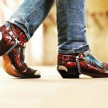 Plutônio masculino cor combinando em relevo ocidental cowboy wear-resistente masculino couro apontou toe moda tendência botas zq0250