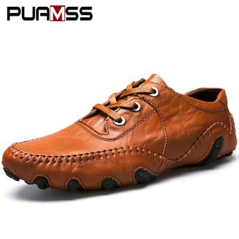 Męskie skórzane buty 2020 męskie wygodne mokasyny buty męskie sznurowane mieszkania buty do jazdy samochodem męskie skórzane trampki męskie buty do łodzi tanie i dobre opinie PUAMSS Prawdziwej skóry Skóra bydlęca RUBBER leather shoes Lace-up Pasuje prawda na wymiar weź swój normalny rozmiar
