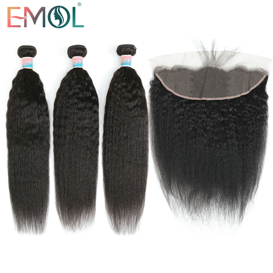 Emol Kinky Straight Hair Bundles With Frontal 13x4 Free Part Closure Non-Remy Peruvian Human Hair With Frontal