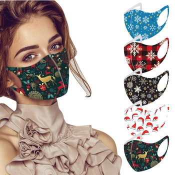 5pc Adult Christmas Printing Face Mask Washable Mouth Fabric Facial Mask For Protection Reusable Santa Earloop Mouth Caps Маска