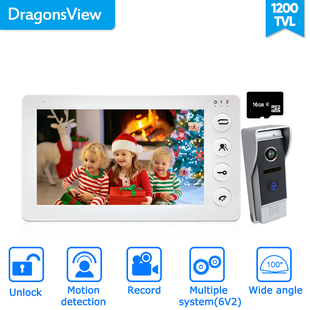 Dragonsview  7 Inch Wired Home Intercom Video Door Phone Doorbell Camera Record Motion Detection 16GB SD Card Wide Angle 100°