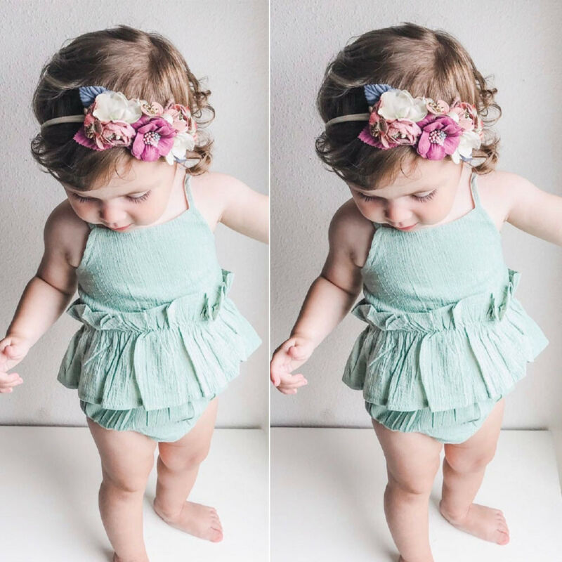 Summer Casual Newborn Infant Baby Girls Clothes Bodysuits Toddler Infant Sleeveless Lace Up Jumpsuit Dress Beach Outfits Costume