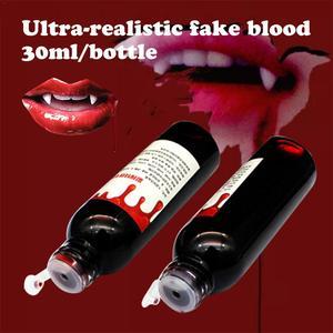 30 мл ультра-реалистичные Поддельные крови Хэллоуин Cos моделирование человека вампира человеческих зубов гемопоэтический реквизит праздни...