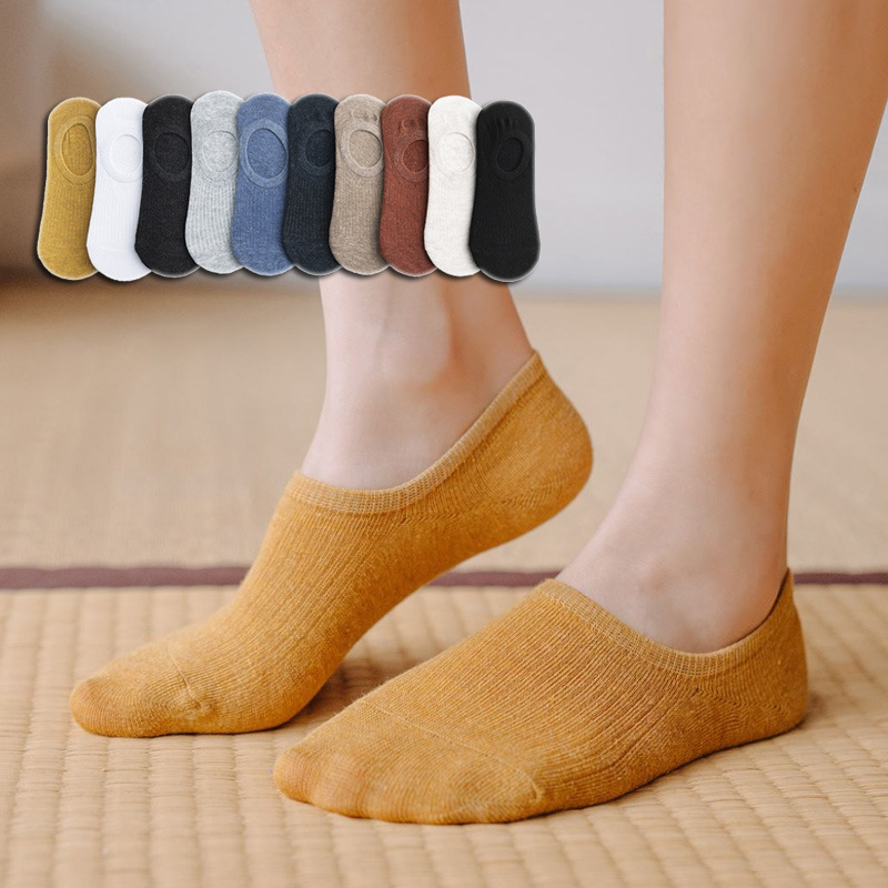 Women Socks Invisible silicone slip Ankle Boat Happy Socks Solid Color Cotton Breathable Comfortable Socks For Ladies