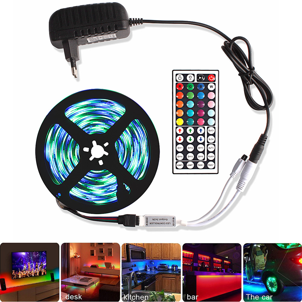 5M 10M 15M RGB Tape Led Strip Lights 5050 2835 12V Waterproof Flexible Neon Diode Ribbon Tiras Led Remote Controller +Adapter EU