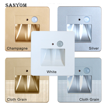 Champagne gold Night Light Recessed Wall Lamps PIR Motion Sensor stair light step Lamp For Corridor Stair Kitchen light 1W 86box