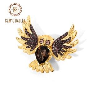 GEM'S balet kobiet broszka sowa Pin naturalne kwarc dymny Gemstones zwierząt broszka i szpilki 925 Sterling Silver Fine Jewelry