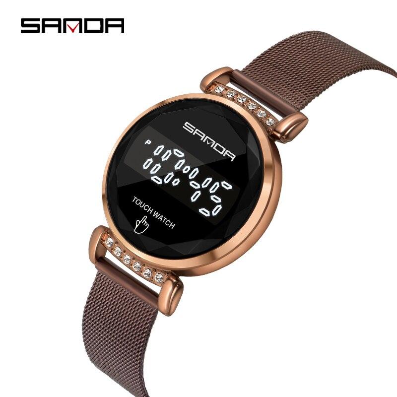 SANDA-montre-bracelet numérique, marque de luxe, écran tactile 30M, étanche, horloge, robes pour femmes, montre pour femme