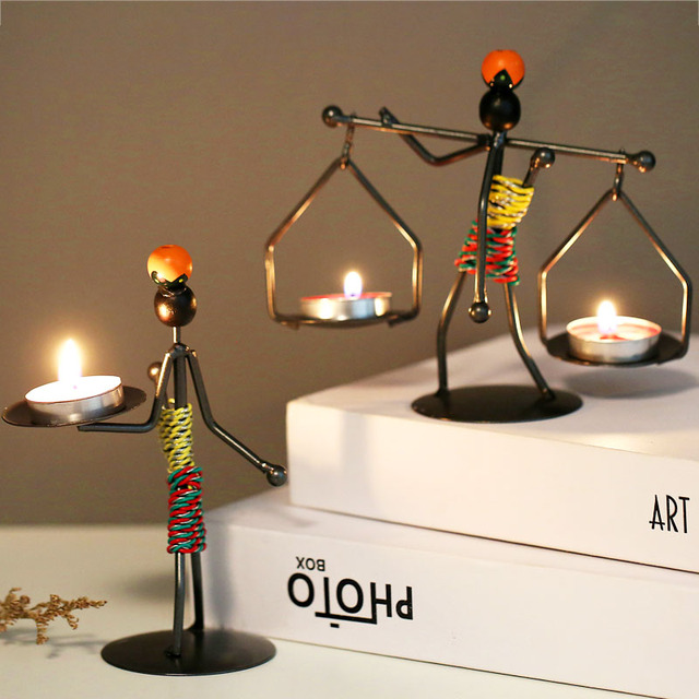 Ins Metal Candlestick Abstract Character Statue Candle Holder Decoraction Ornaments Handmade Figurines Home Decoration Art Gift 4