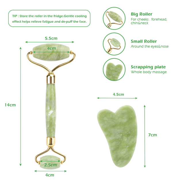 Natural Xiuyu Facial Massage Roller Guasha Scraping Board Set Double Heads Jade Stone Face Lift Body Slim Neck Thin Lift Tools 4