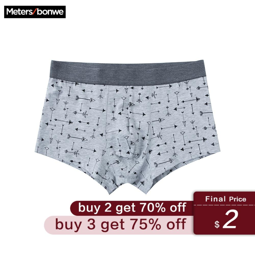 Metersbonwe Boxer Teenagers Male Underwear Men Cotton Underpants Male Panties Underwear Comfortable Boxer Homewear Print Cuecas