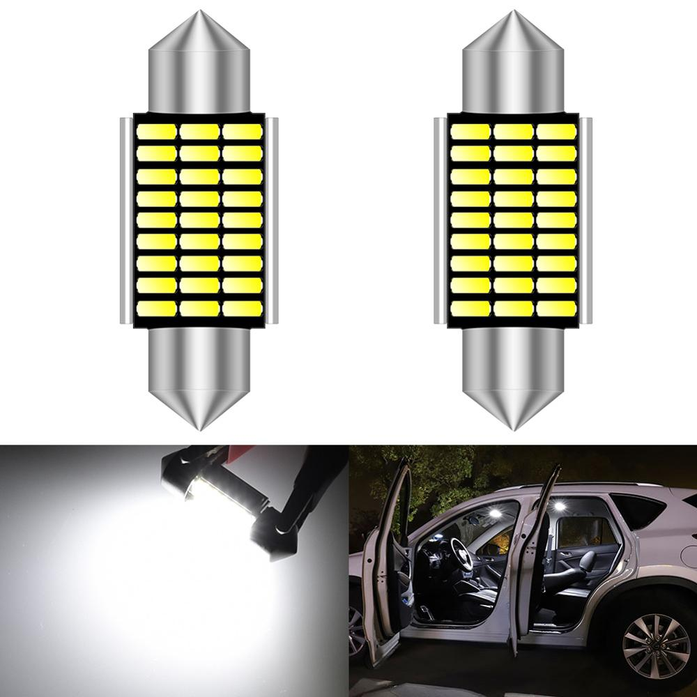 2pcs <font><b>LED</b></font> 31mm 36mm 39mm 41mm White CANBUS C5W Bulbs Interior Lights License Plate Light For BMW E39 <font><b>E36</b></font> E46 E90 E60 E30 E53 E70 image