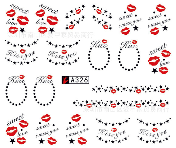Hot Sales Valentine's Day Water Transfer Nail Sticker Lip Red Heart Tao Yin Rose South Korea Nail Sticker Wholesale