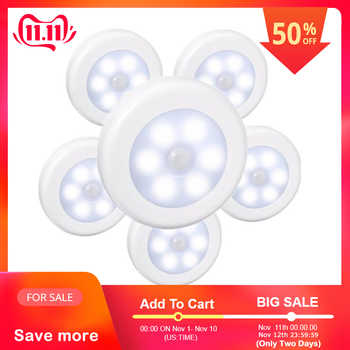 SOLLED LED Infrared PIR Motion Sensor Battery Powered 6 led Night Light Wireless Detector Wall Lamp for Closet Cabinet - DISCOUNT ITEM  10% OFF Lights & Lighting