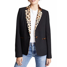 2019 Autumn Women's suit casual vintage chic coat female Single button leopard blazer outerwear women ZA style(China)
