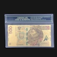 1pc 2017 colorido poland moeda projetou 24k ouro chapeado nota 500 pln para presentes da lembrança do banco