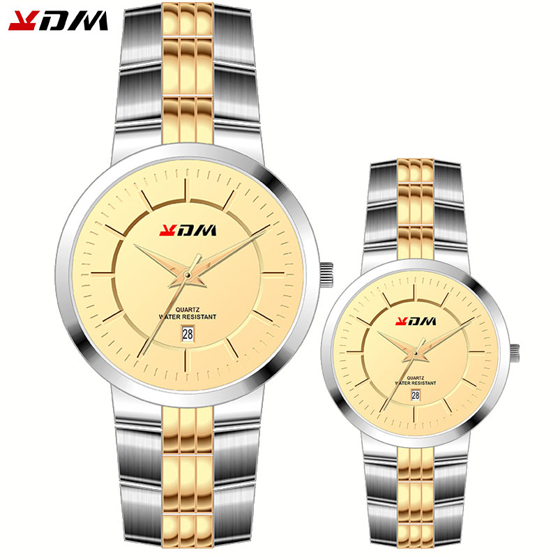 KDM Couple Watches Pair Men And Women Full Steel Quartz Elegant Fashion Casual Couples Watches Relojs Pareja Hombre Y Mujer