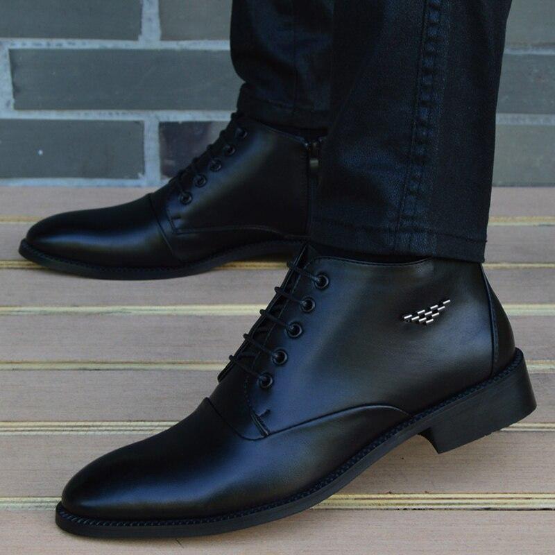 Купить мужские кожаные ботинки с острым носком дышащие деловые высоким