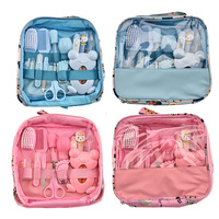 Newborn care products nasal suction device 13 pieces cartoon bag set baby nail scissors comb